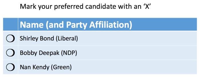 North MMP Constituency Ballot